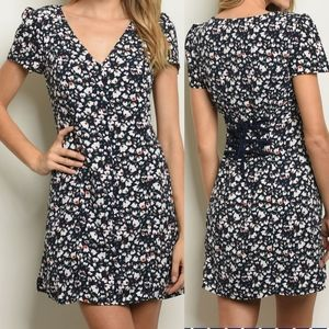 5⭐ Le Lis navy floral lace up fit & flare dress